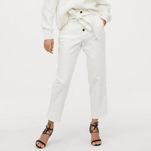 White tapered tie-front pants